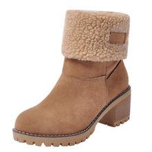 Frauen Winter Pelz Warme Schnee Stiefel Damen Warme wolle booties Ankle Boot Bequeme Schuhe plus größe 35-43 Frauen(China)