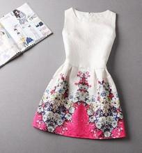 Hot selling new fashion 2015 summer style print dress, women sleeveless party dresses(China (Mainland))