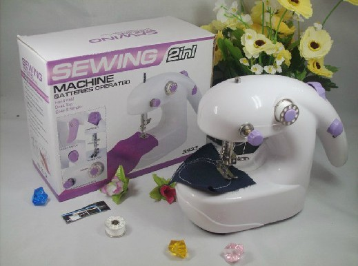 Mini Electric Household mini Sewing Machine Hand Held Single Sewing Tool wife's gift Chain Stitch Flat-Bed(China (Mainland))