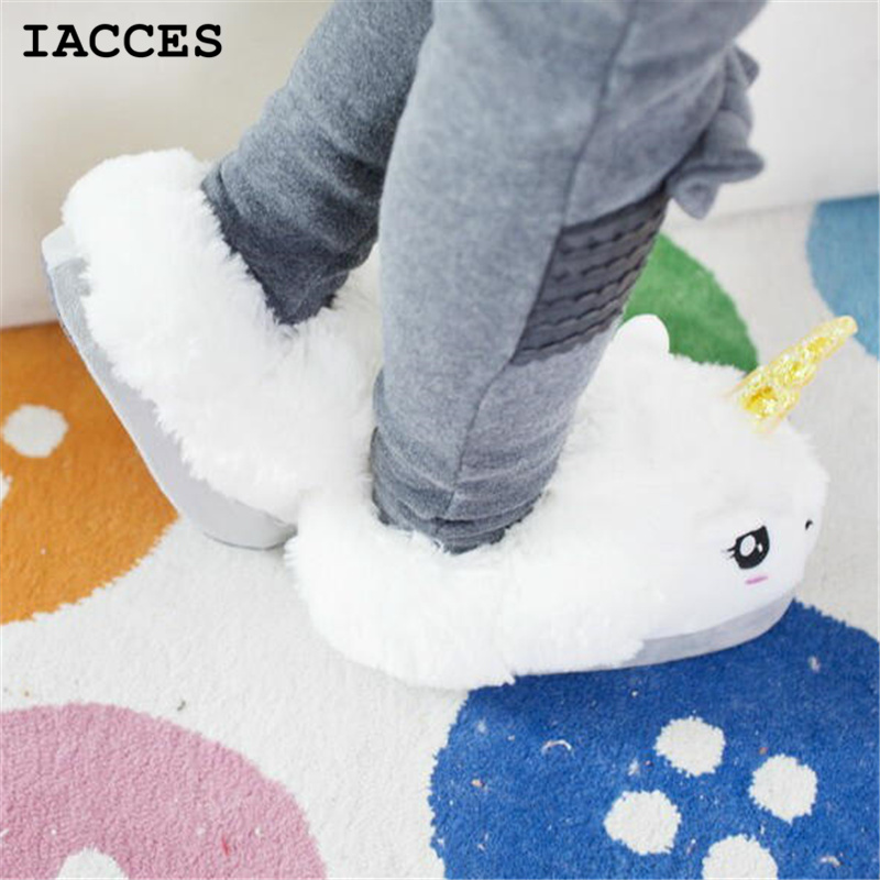 Women and men Plush Unicorn Slippers Cosplay Chaussons Licorne Creative Funny Home Soft Shoes PP Cotton with Heel Pantufas(China (Mainland))