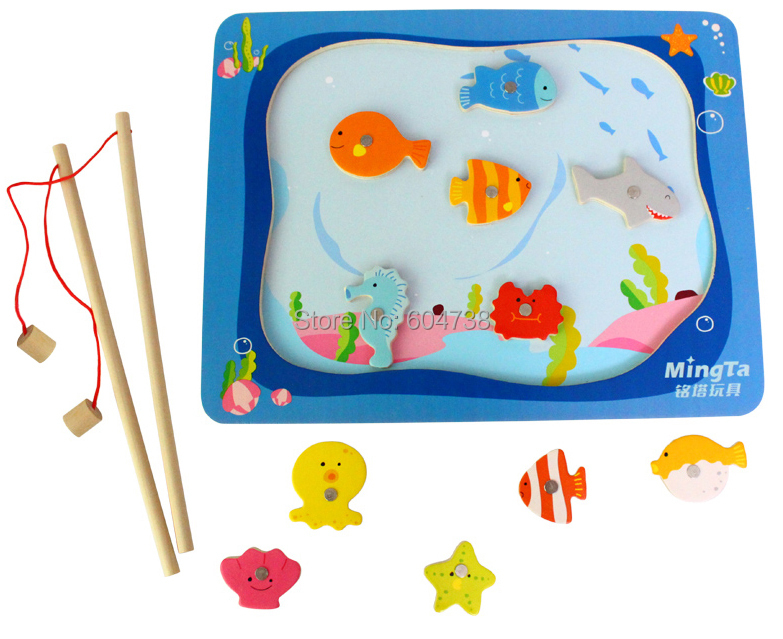 Wooden Learning magnetic fishing board toy comes with 11 fish and 2 fishing rods, outdoor fun fish toy gift for baby kid toy(China (Mainland))