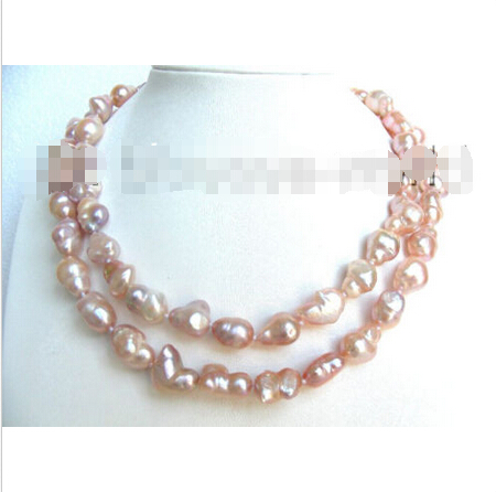 CLASSIC 34 14mm pink baroque nautral pearls necklace b1003^^^@^Noble style Natural Fine jewe FREE SHIPPING<br><br>Aliexpress