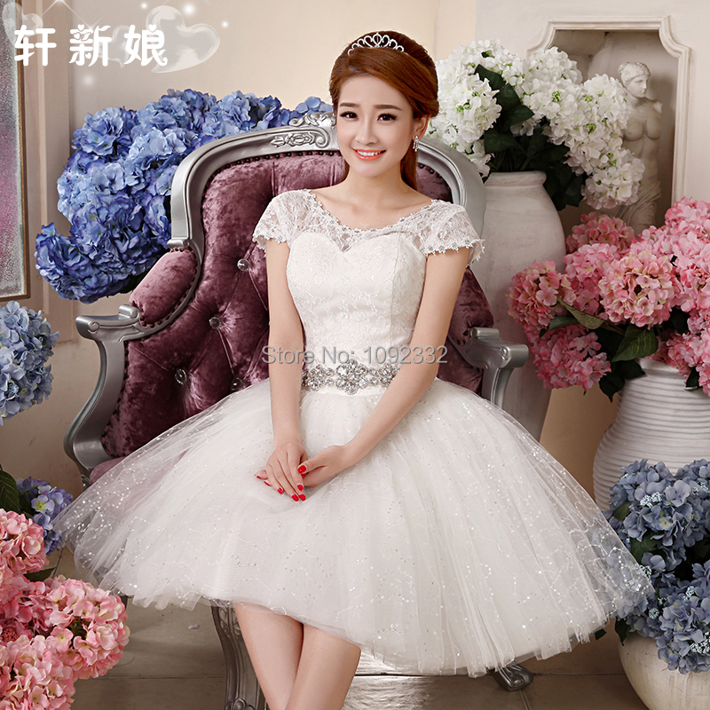 S 2016 new plus size small short wedding dress bridal ball for Cheap simple plus size wedding dresses