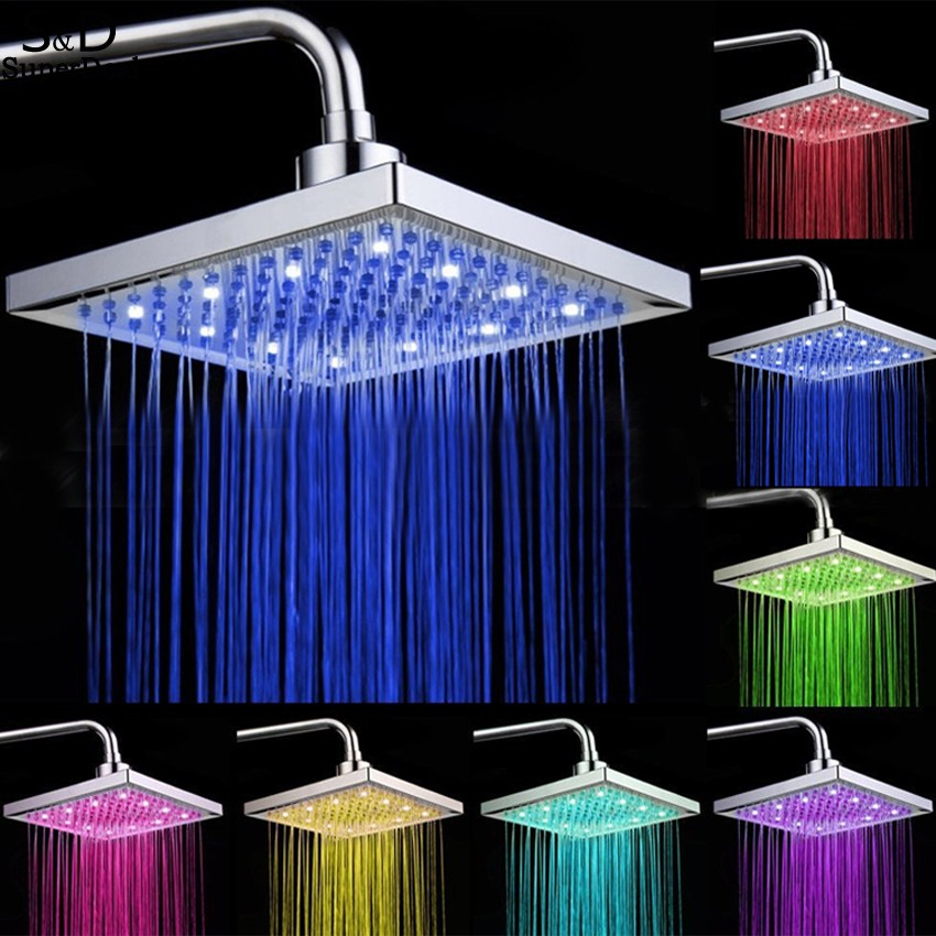 Homdox 8 inch Bathroom Rain Shower Head Square Stainless Steel LED Light Shower Head Silver 7 Colors Changing(China (Mainland))