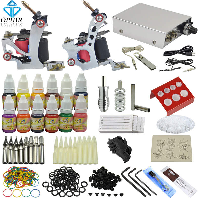 OPHIR Tattoo Kits for Body Art 2 Rotary Tattoo Machine Guns Equipment Power Supply Tattoo Ink Pigment Set #TA069