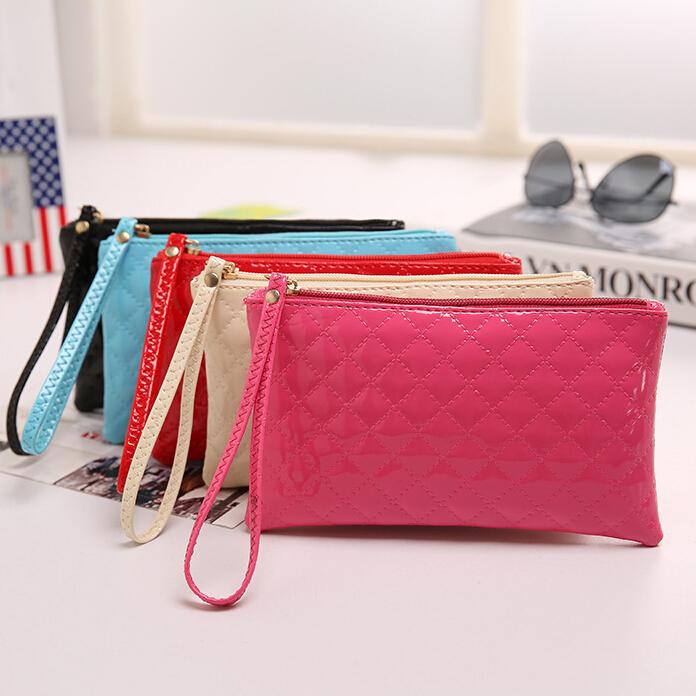 2015 new arrival hot sale Fashion candy color PU Leather Clutch Evening Bag plaid design Women's Purse women bag WLHB1180