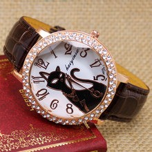 Lovely Black Crystal Cat Watch