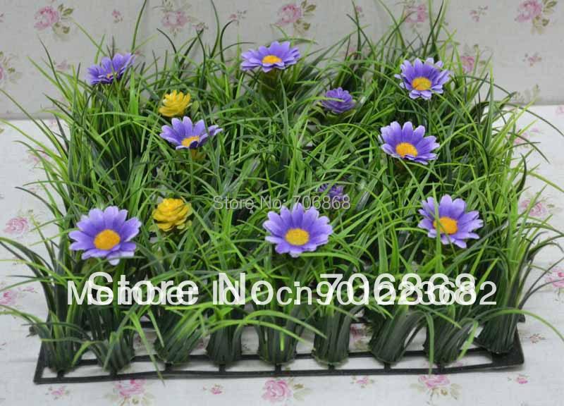 10''*10'' Artificial plastic long grass mat jungle grass mat boxwood mat with flower wedding garden decoration table runner 16(China (Mainland))