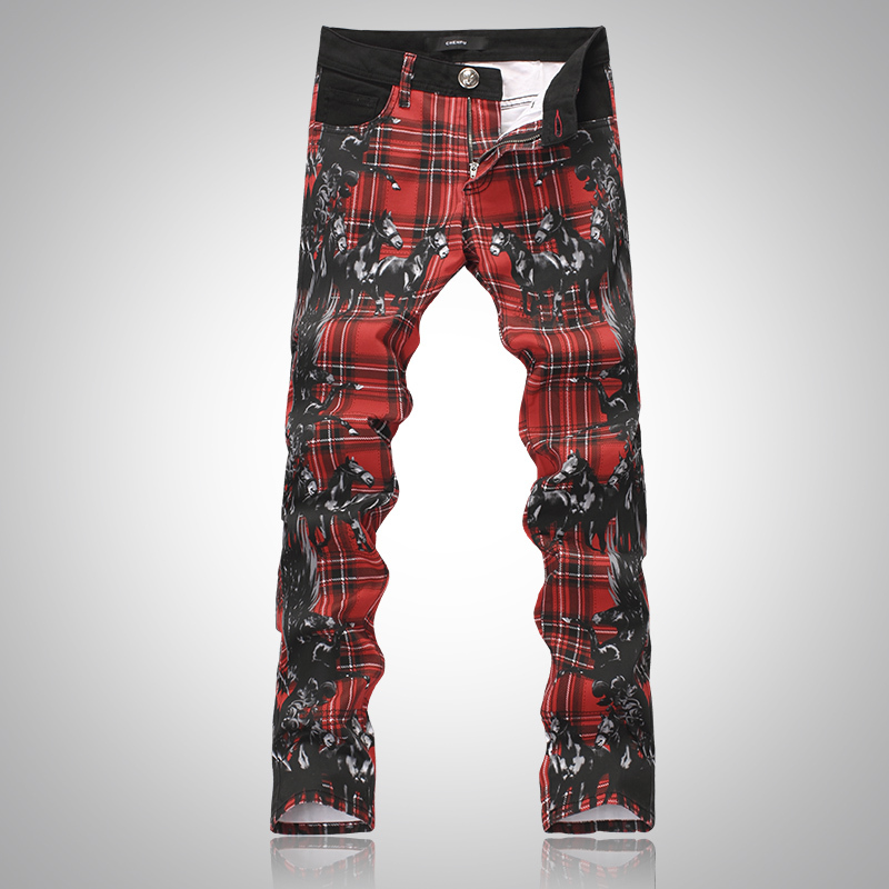 2015 New Mens fashion red plaid horse print jeans Male slim denim pants Long trousers Free shippingОдежда и ак�е��уары<br><br><br>Aliexpress
