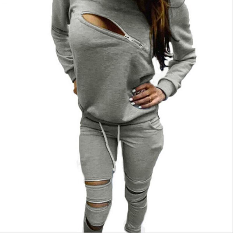 2015 Fashion Women Autumn Sweatshirt Suit Front Zipper O Neck Long Sleeve Sport Suits 2 Pieces ...