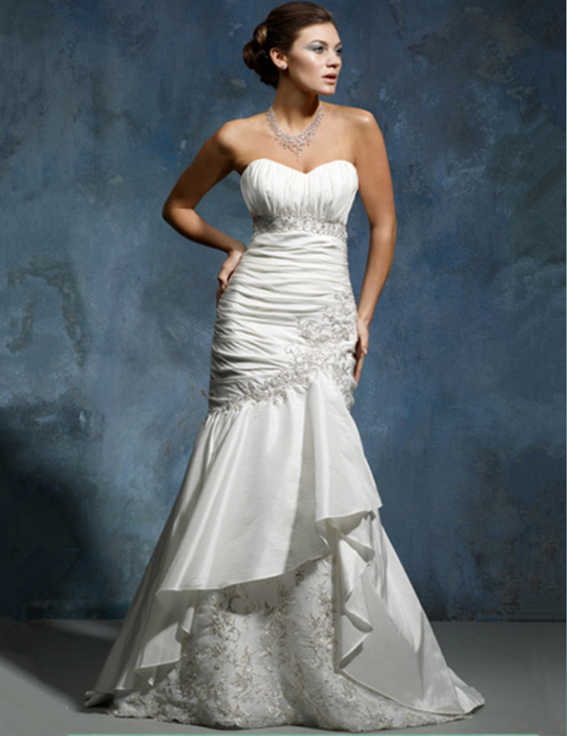 Hot sale elegant white ivory sweetheart mermaid taffeta for Taffeta mermaid wedding dress