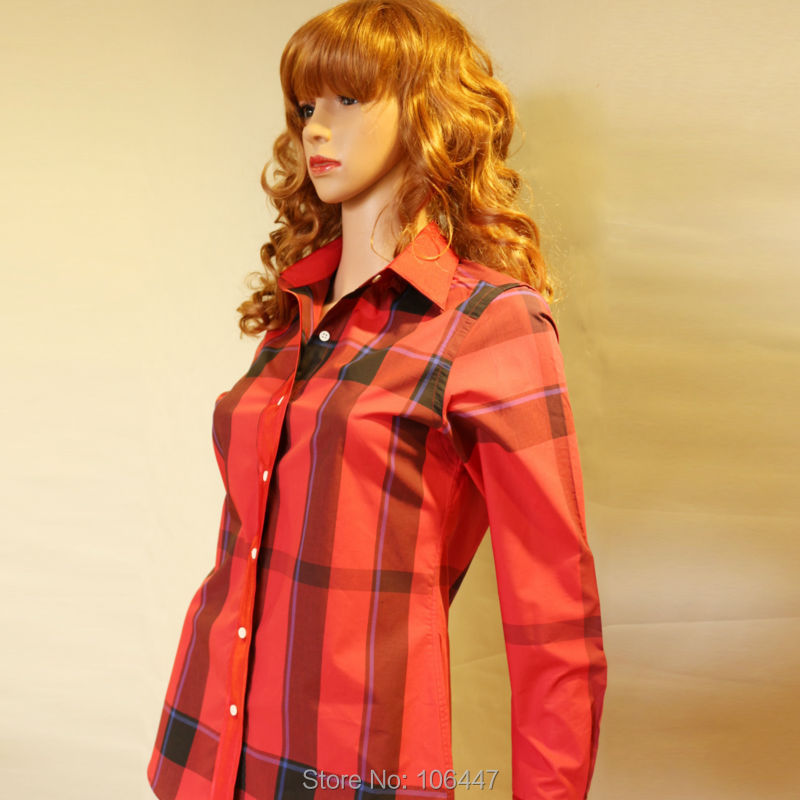 the british famous brand red plaid lady fashion dress shirt tailor made designer's office for lady blouse wear free shipping(China (Mainland))