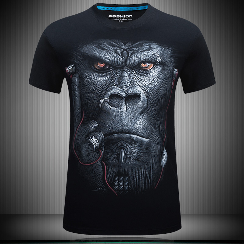 Men's T-shirt selling 2016 summer new style 3D headset creative T-shirt printing gorilla men's cotton casual brand T-shirt(China (Mainland))