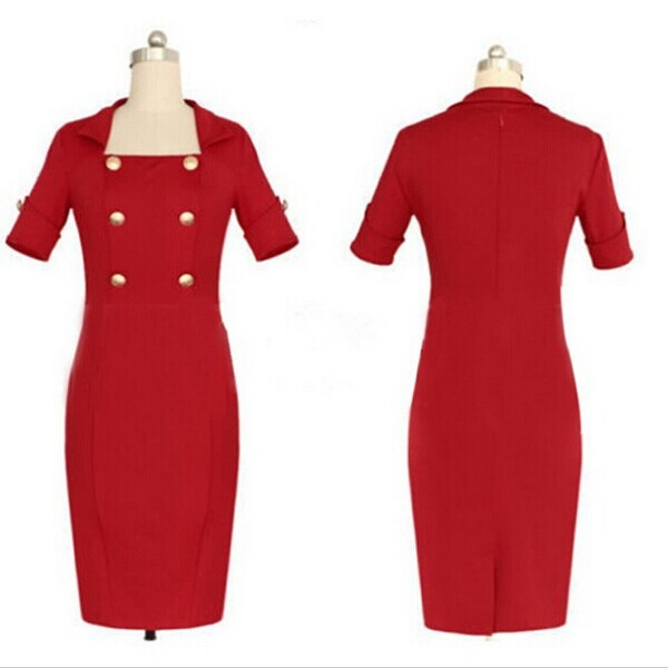 Newest High-End Design Lady Elegant Red Dress Suit Half Sleeve ...