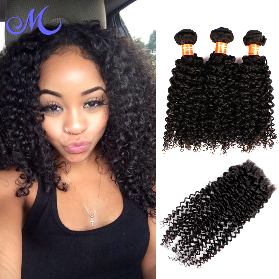 Brazilian Curly Virgin Hair With Closure Remy Queen Hair Closures Brizilian Hair With Closure Brazilian 3 Bundles With Closure