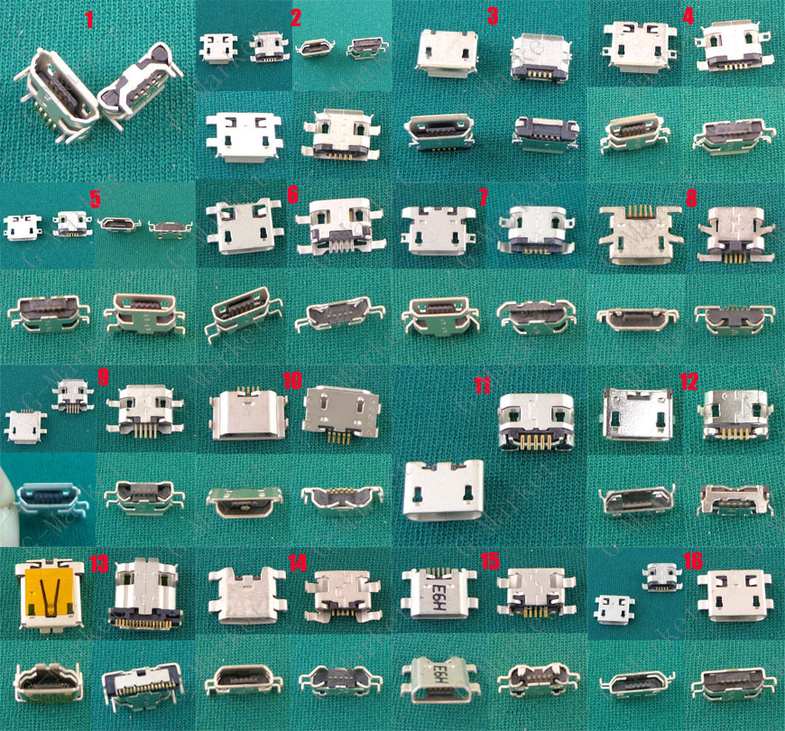 16model 240pcs For Samsung Lenovo Huawe Zte Coolpad Android Mobile phone Tablet PC Charging port Mini Micro Female USB Connector(China (Mainland))