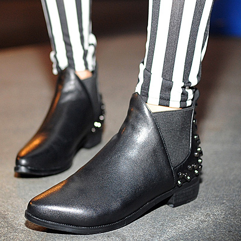 2015 new arrival spring autumn fashion motorcycle boots hit color black shoes women pointed toe rivets concise sport ankle boots<br><br>Aliexpress