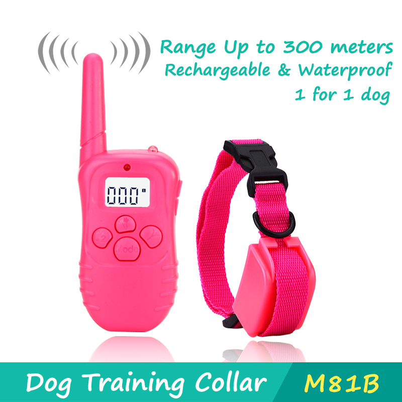 Dog training collar 300 meters shock collar rechargeable&waterproof LCD display no barking dog trainer for 1 dog(China (Mainland))