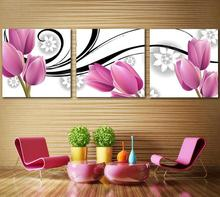 Purple tulip Frameless paintings canvas modern art of three pieces canvas prints painting canvas panels , wall decal(China (Mainland))