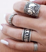 Bohemian style retro hip hop jewelry influx of people carved elephant metal joint ring ring a family of four(China (Mainland))