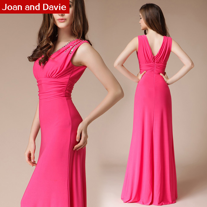 fashion 2015 spring summer women high street rose red slim elastic V neck floor length long Formal Evening Dresses - Joan and Davie store