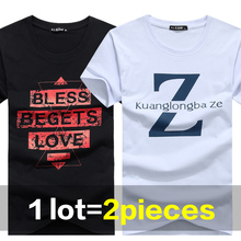 1 Pack=2pieces Man T-shirt Summer Cotton O-neck Sport Casual Shirt Print Plus Size Short Sleeve Men Tops Tee Clothing S-5XL