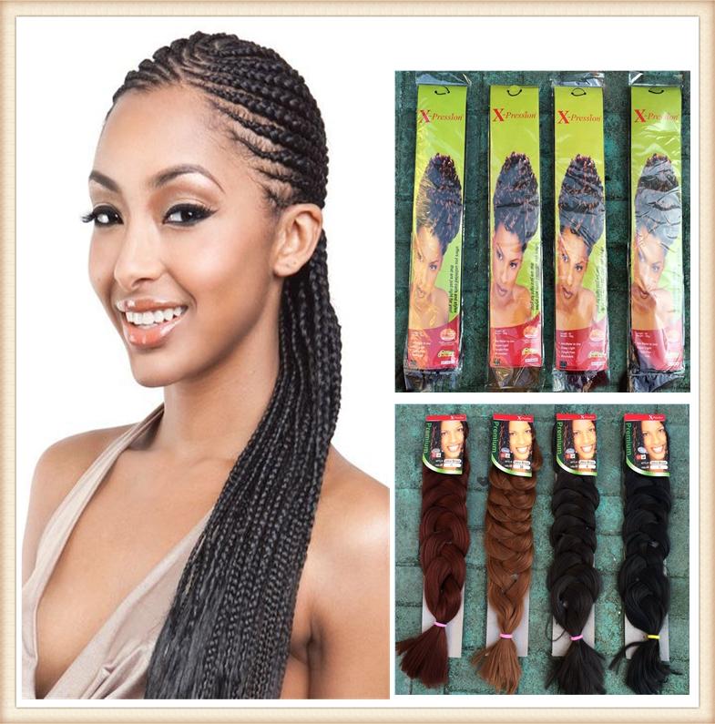 "Good Quality 100% Kanekalon Xpression Braiding Hair 82"" 208cm 210G Synthetic Bulk Hair For Braiding Drop Shipping(China (Mainland))"