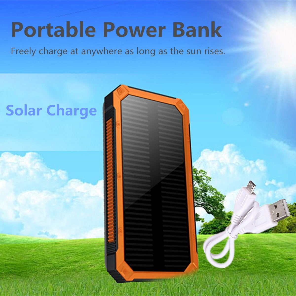 20000mAh Portable Dual USB Port Solar Power Bank External Backup Charger Battery Powerbank Power Supply For iPhone 6 6s 6plus S6