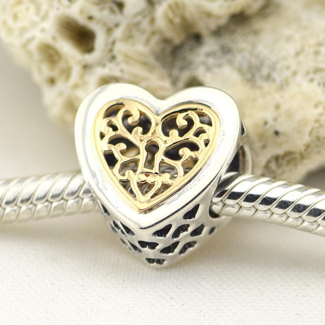 Осень стиль серебряные ювелирные изделия 925 заблокирован сердца 14 К золото бусины Fit пандора оригинальный подвески браслеты DIY ювелирных украшений