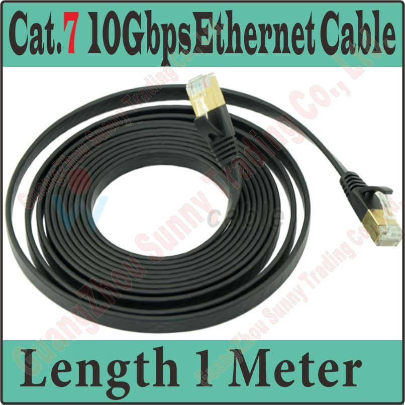 Best Quality New 3FT 1M CAT.7 CAT 7 Flat UTP 10Gbps Ethernet Network Cable RJ45 Patch LAN Cord wholesale, CAT7 Cable, PROM10(China (Mainland))