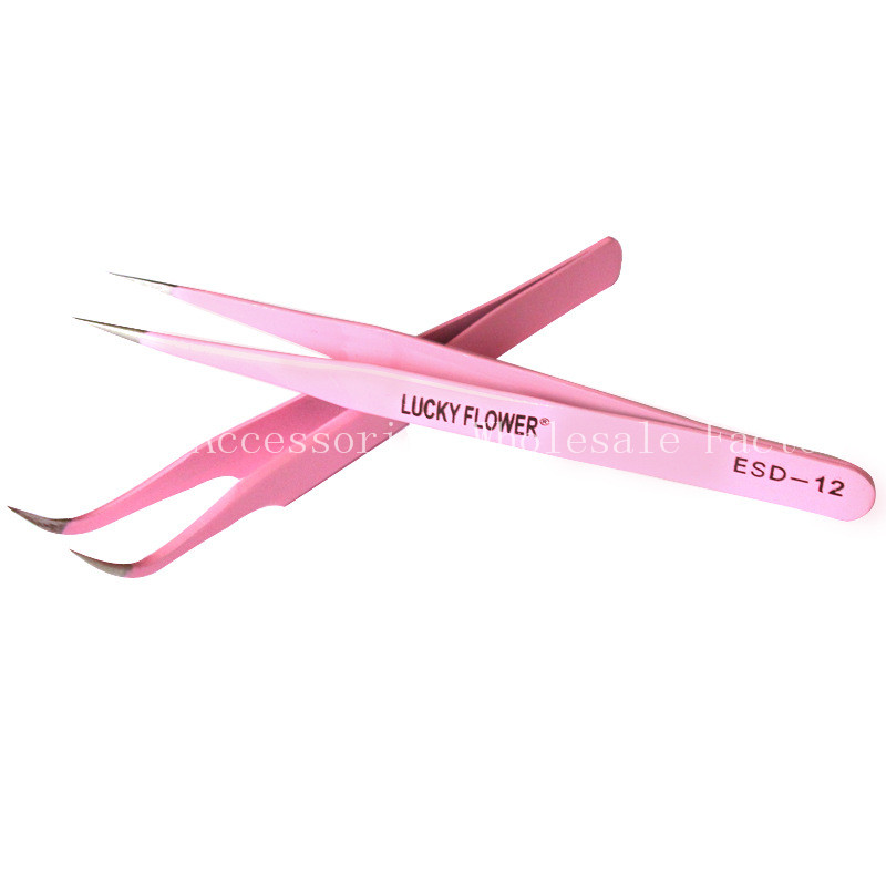 10 pcs Professional Pink Tweezers Stainless Steel Bend Straight Eyebrow Eyelash Tweezer Beauty Makeup Tool Wholesale