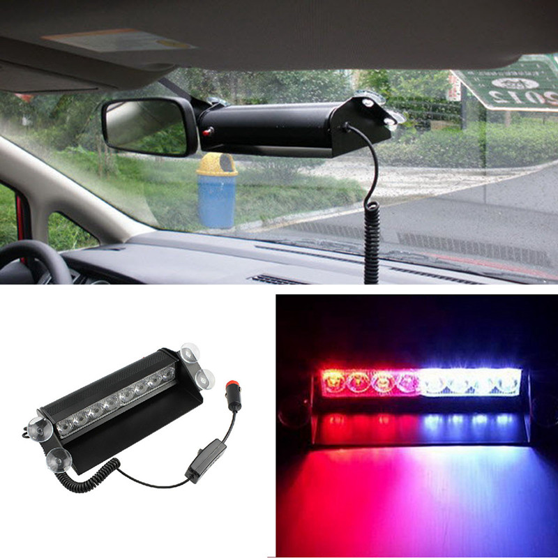 blue car police strobe flash light dash emergency warning 3 flashing. Black Bedroom Furniture Sets. Home Design Ideas