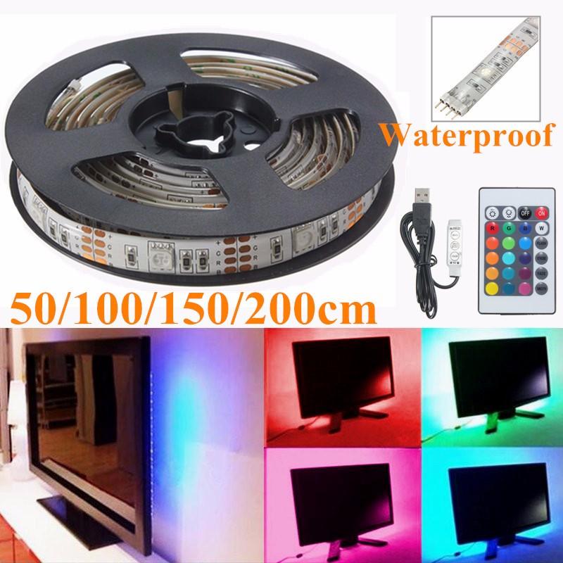 50/100/150/200cm Waterproof 5050 SMD TV Background Lighting Kit USB LED Strip Light RGB Lamp With 24 Keys IR Remote DC5V(China (Mainland))
