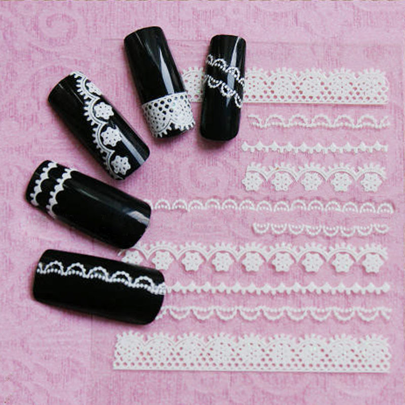 2 Sheets Same Styles 3D White Lace beauty Crystal Nail Art Tips Stickers Wraps Decal Manicure