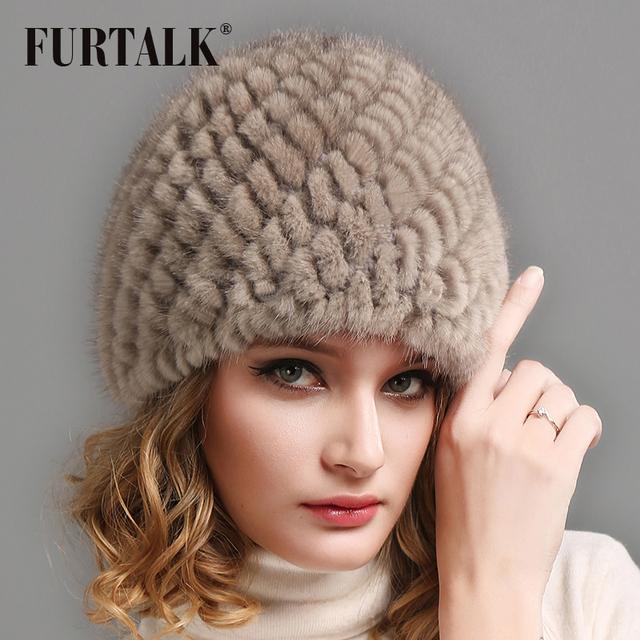 FURTALK Women Real mink fur hat winter fur hat Russian Women Winter Hat Beanie