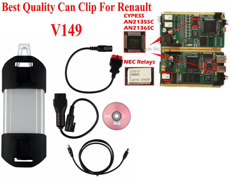 Best Quality Diagnostic Interface For Renault Can Clip With New NEC Relays Newest Can Clip OBD2 Diagnostic Tool(China (Mainland))