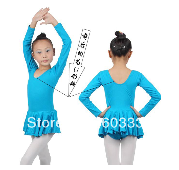 Blue Girls Kids Long Sleeve Party Ballet Costume Tutu Gymnastics Leotards Skirt Dance Skate Dress SZ 3-8Y - dance dress store