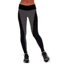 Women Sports Pants 2015 Elastic Exercise Pants Female Sports Elastic Fitness Running Trousers Slim Pants Black Gray