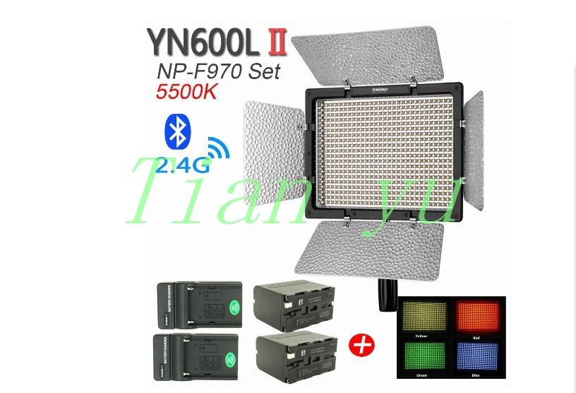 Bi-Color YONGNUO YN600L II 3200-5500K LED Video Light Panel w 2pcs NP-F970 Batteries & Chargers & 4 Color Flash Gels(China (Mainland))