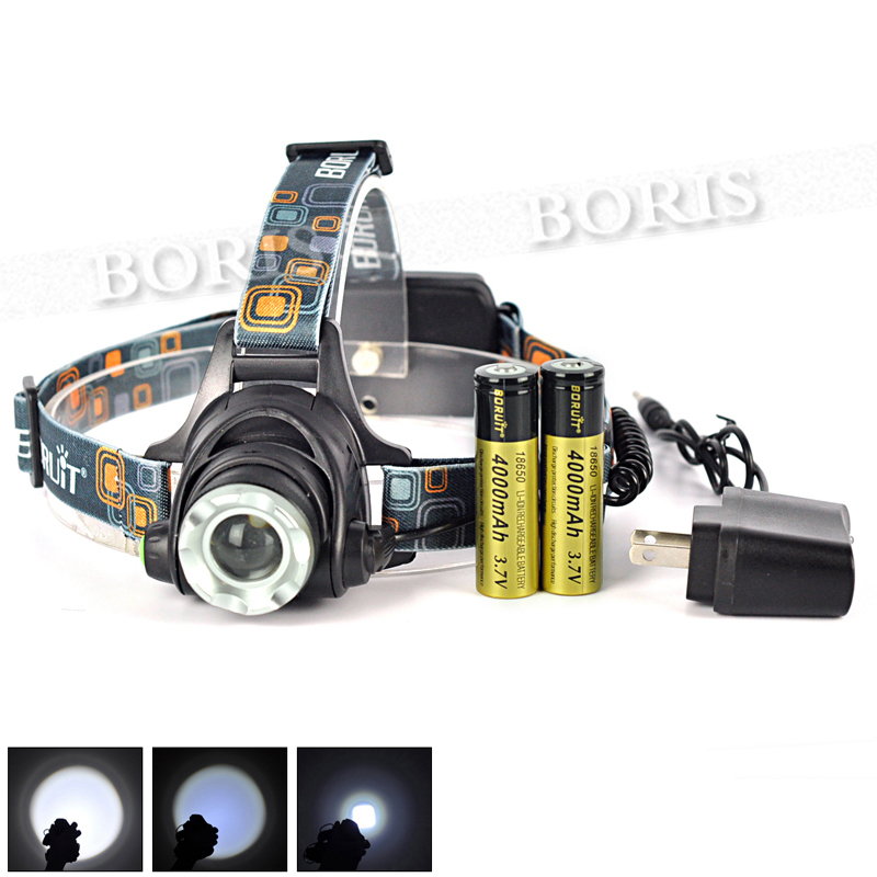 Free Shipping XM-L XML T6 LED 2000Lm T6 Rechargeable Headlamp Head light  Zoomable Head Lamp Light + 2x 18650 Battery + Charger<br><br>Aliexpress