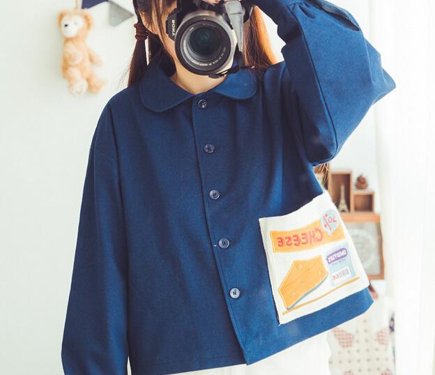2016 spring Turn-down collar Wild childlike cute stich pocket Short paragraph cat jacket women coat