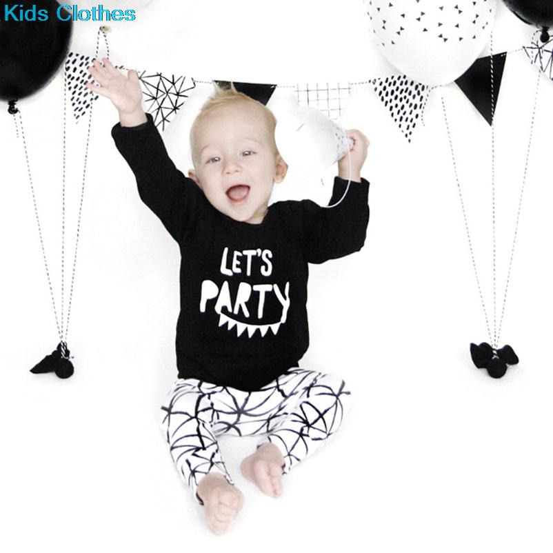 2016 New INS Fashion Baby Boy Clothes Set Let's Party Full Sleeve Shirt+Geometric White Pants Kids Outfits Clothing Children(China (Mainland))