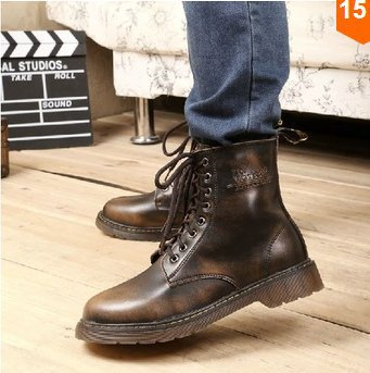 2014 Size 38-45 Winter Men Retro Army Boots Young Boys Fashion Motorcycle Genuine Leather Short