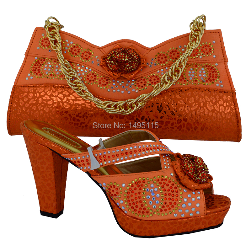 2016 New matching italian shoes and bag set yellow color open toe heels african shoes and bag set!MVB1-5