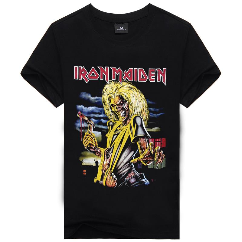 Iron maiden t shirt music men rock band tshirts top for Best inexpensive t shirts