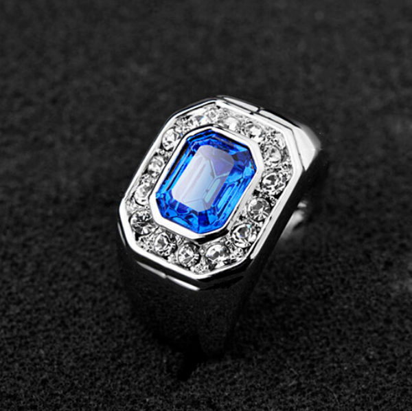 Full Size Italina Brand Classic Men Ring Silver Plated Pool Blue Crystal Ring Male Wedding Engagement Ring Jewelry for Man Woman(China (Mainland))