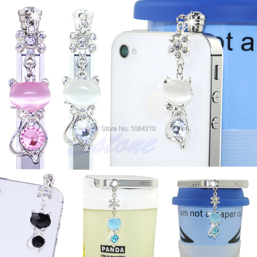 1Pc 3.5mm Jack Cat Crystal Dust Plug Anti Earphone Cap Stopper For iPhone 6 Samsung(China (Mainland))