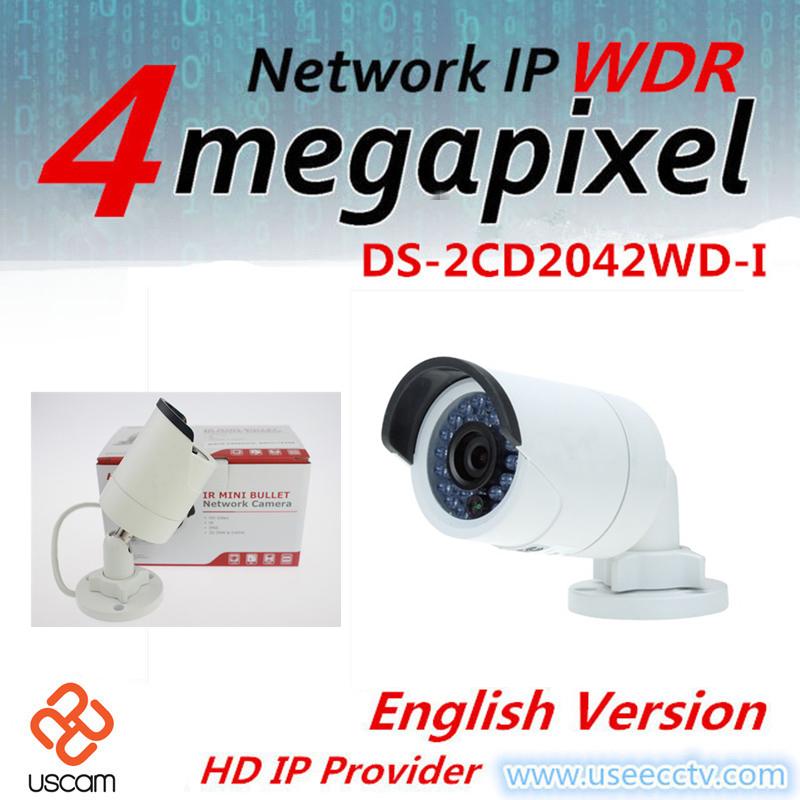 English version DS-2CD2042WD-I 4.0 Megapixel IR Bullet Network Camera Support H.264+ POE IP camera WDR IP camera(China (Mainland))