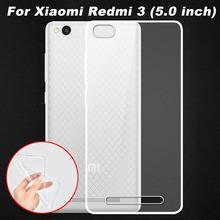 Xiaomi редми 3 чехол 0.6 мм ультратонкий прозрачный тпу мягкая задняя крышка телефона чехол для Xiaomi редми 3 Redmi3 ( 5.0 дюймов )