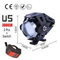 2pcs 125w U5 Motorcycle Headlight LED moto Fog Light DRL 3000LM Autobicycle spotlight Head lights car
